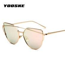 67b56f10d9 YOOSKE marca de moda gato ojo gafas de sol mujer Metal Twin-Beams gafas de sol  mujer Retro revestimiento espejo gafas plana lent.