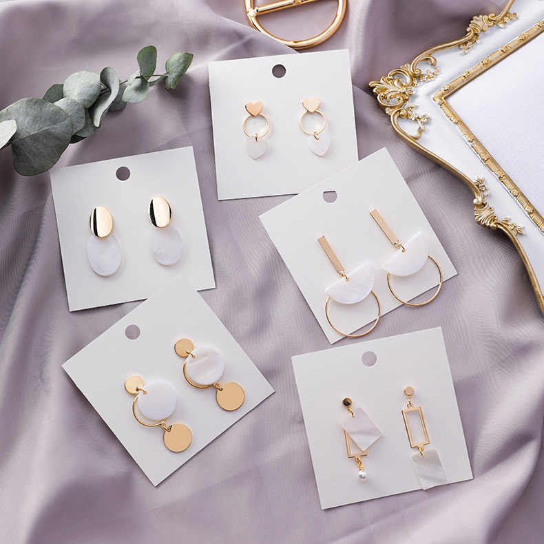 2019 New Fashion Drop Earrings Geometric Oval Heart Square Shell Dangle Earrings For Women Hollow Metal Circle Oorbellen