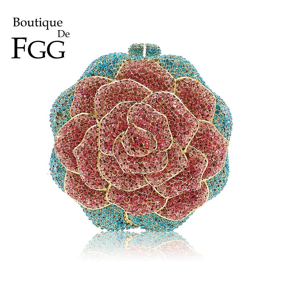 Boutique De FGG Multi Color Crystal Diamond Women Rose Flower Evening Clutch Minaudiere Bag Bridal Wedding