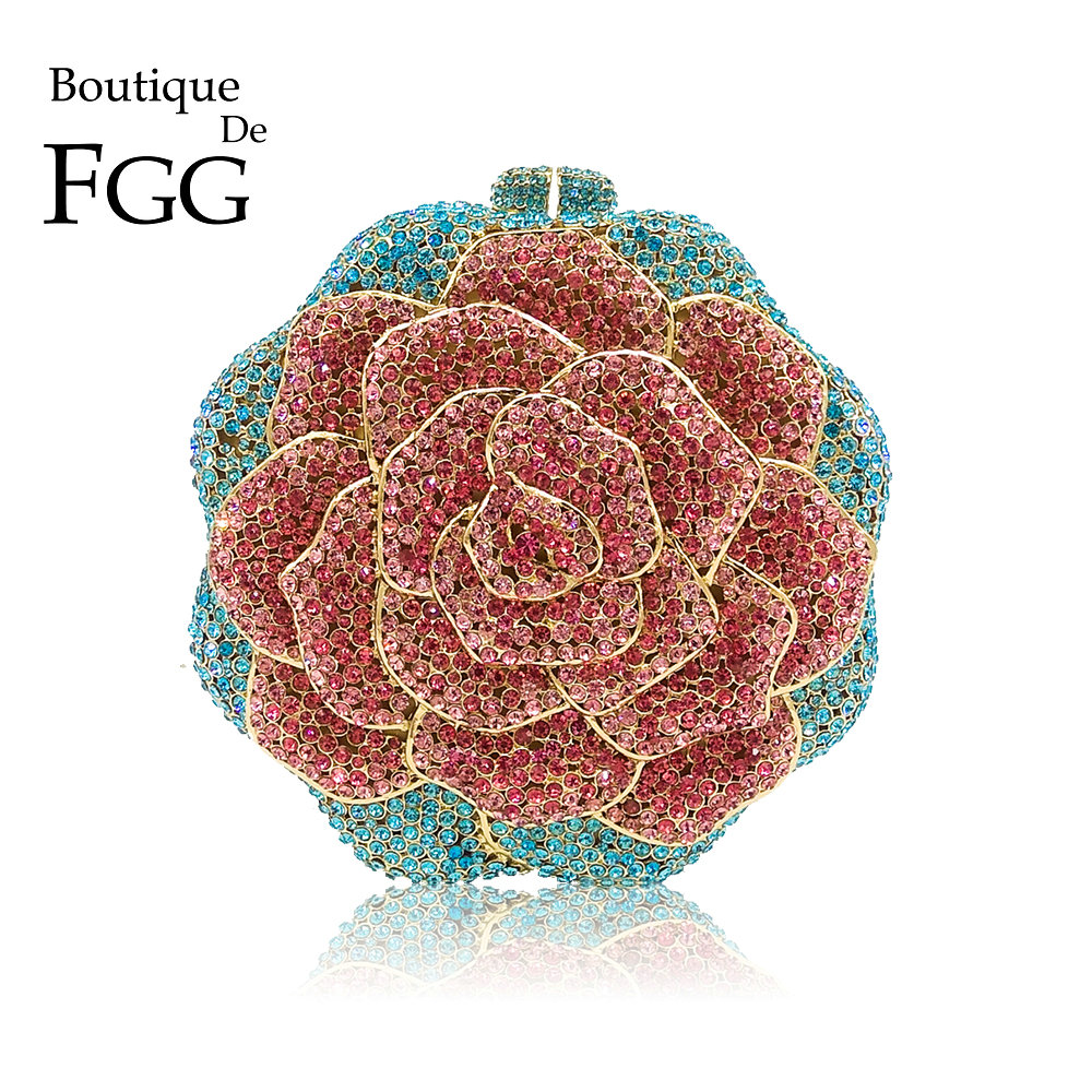 Boutique De FGG Multi Color Crystal Diamond Women Rose Flower Evening Clutch Minaudiere Bag Bridal Wedding Bridal Handbag Purse купить в Москве 2019