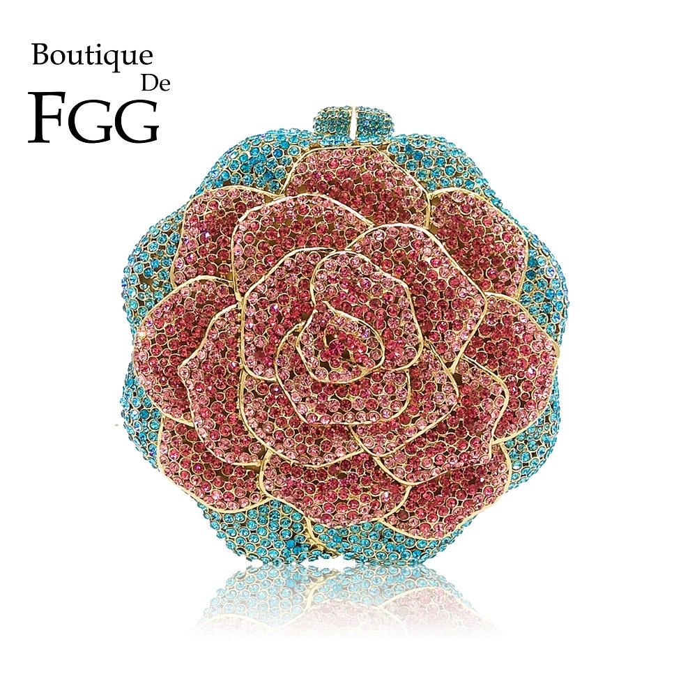 Boutique De FGG Multi Color Crystal Diamond Women Rose Flower Evening Clutch Minaudiere Bag Bridal Wedding Bridal Handbag Purse