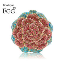 Boutique De FGG Multi Color Crystal Diamond Women Rose Flower Evening Clutch Minaudiere Bag Bridal Wedding Bridal Handbag Purse
