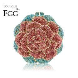 Boutique de fgg multi cor cristal diamante feminino rosa flor noite embreagem minaudiere saco nupcial casamento bolsa