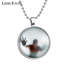 Newest Shadow Men Style Necklace Glass Cabochon Chain Statement Pendant Necklace Glow In The Dark Nightlight Collares