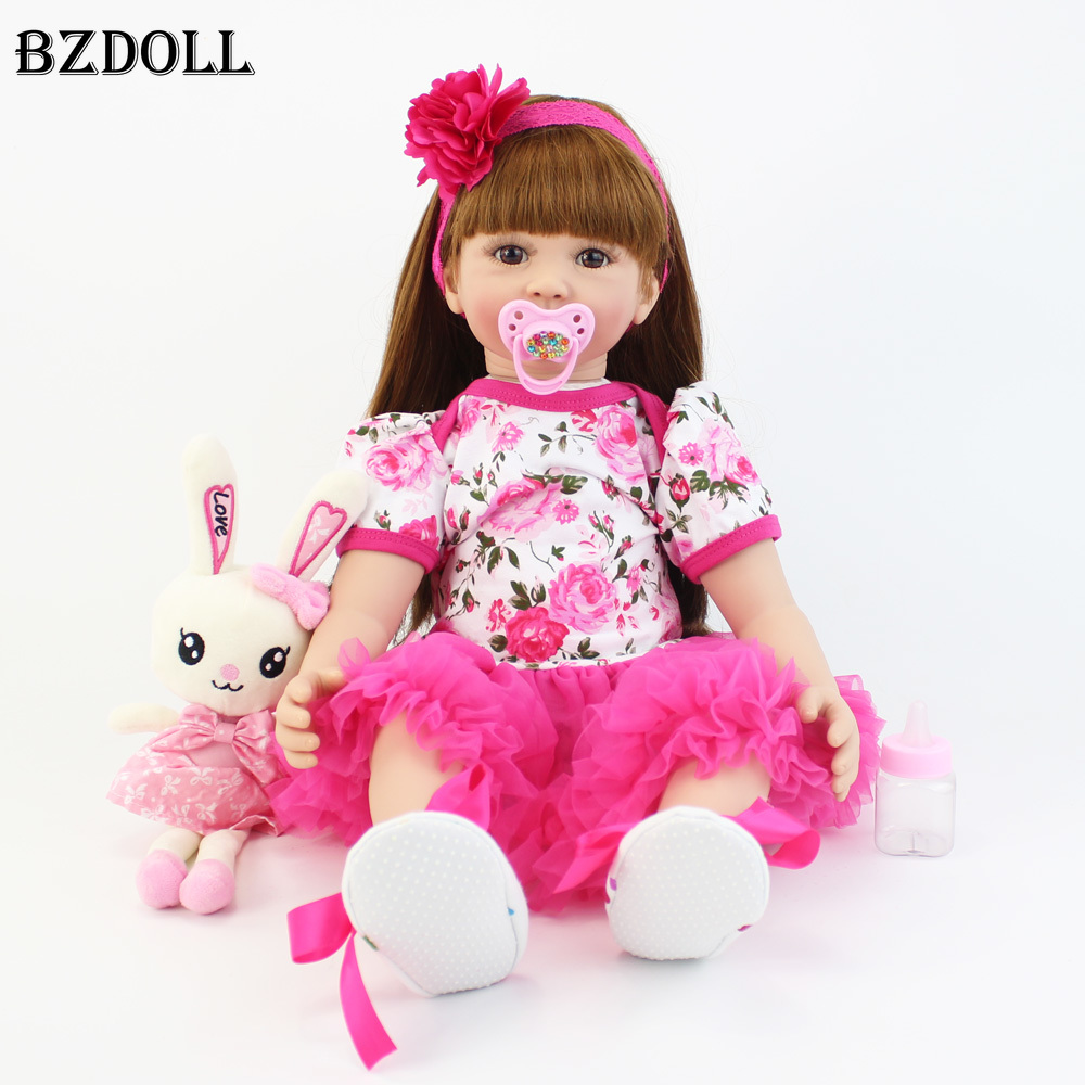 60cm Soft Silicone Reborn Baby Doll Toys Like Real Vinyl Princess Toddler Babies Alive Bebe Girl