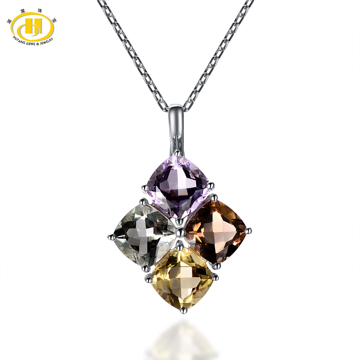 Hutang Brand Square Amethyst Gemstone Natural Smoky Quartz Collar 925 sterling-silver-Jewelry Fine Women Necklaces & Pendants