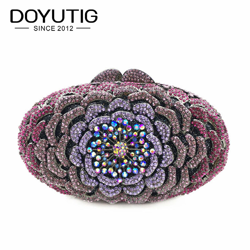 DOYUTIG Luxury Womens Crystal Diamond Evening Bag Metal Hard Case Flower Shape Crossbody Bags Purse Wedding Party Clutch A179DOYUTIG Luxury Womens Crystal Diamond Evening Bag Metal Hard Case Flower Shape Crossbody Bags Purse Wedding Party Clutch A179