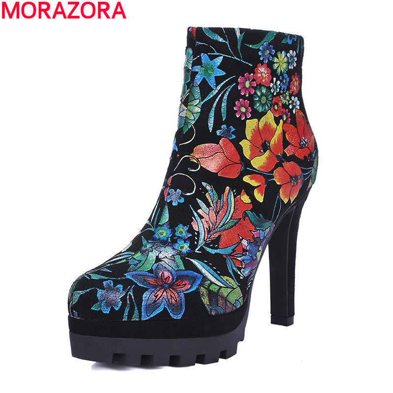 ФОТО 2017 autumn ethnic style fashion platform boots sexy flower thin high heel zip women boots solid round toe ankle boots