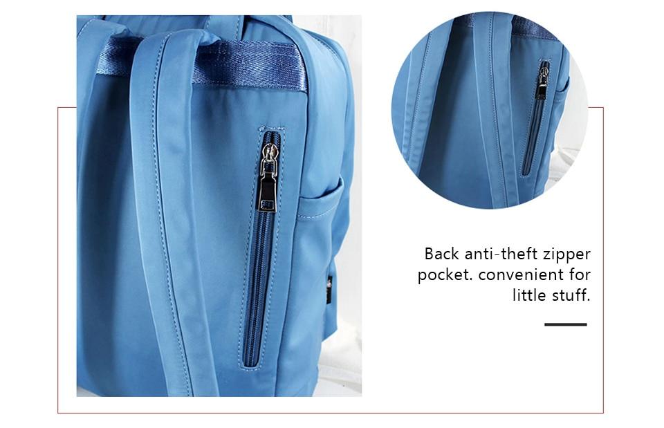 anti-roubo feminino náilon bagpack