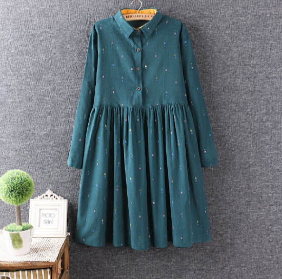 Colored cartoon Fresh printed cotton corduroy Turn-down collar  long sleeve  dress  mori girl 2016 autumn