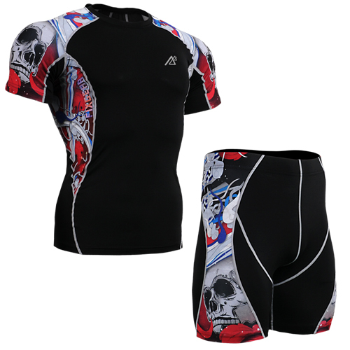 Flexibility Body Compression Base Layer Sport PRO Training shorts pink skulls jogging suit cycling suit spiderman