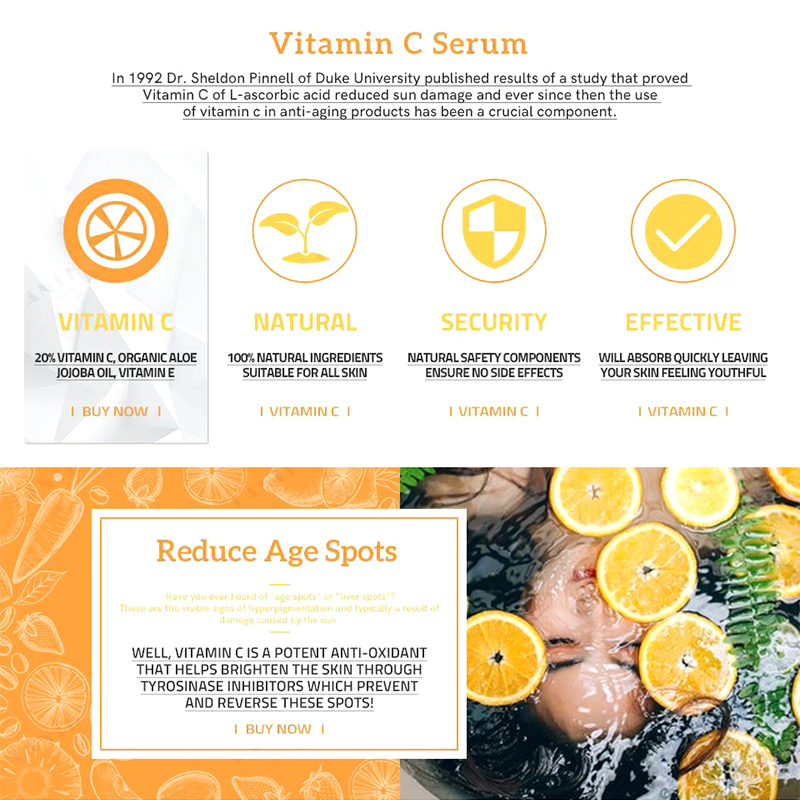 Firstsun Vitamin C Hyaluronic Acid Face Serum Anti Aging Fade Dark Spot Wrinkle Hydrating Skin Serum Skin Care Essence TSLM1