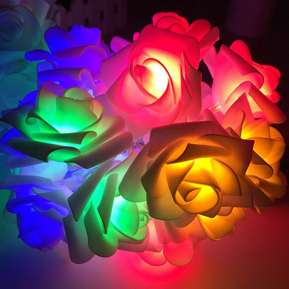 Lights & Lighting Lovely 2m/4m Rose Flower Led String Warm White/cold White/rgb/ Pink/purple Battery Powered Waterproof Outdoor Fairy Decoration Light Sales Of Quality Assurance