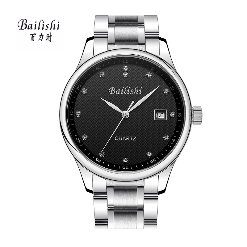 BAILISHI Men Watch Diamonds Hour Stainless Steel Business Quartz Watch Brand Luxury Sports Wrist Watch Male Relogio Waterproof bailishi top luxury brand men watches diamonds hour stainless steel sports wrist watch male causal quartz male watch waterproof
