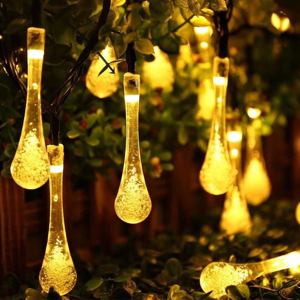 30 LED Solar Power Fee Wasserdicht String Wasser Tropfen Lampe Garten Hause Baum Party Decor Outdoor weihnachten laser-Flash-licht RGB