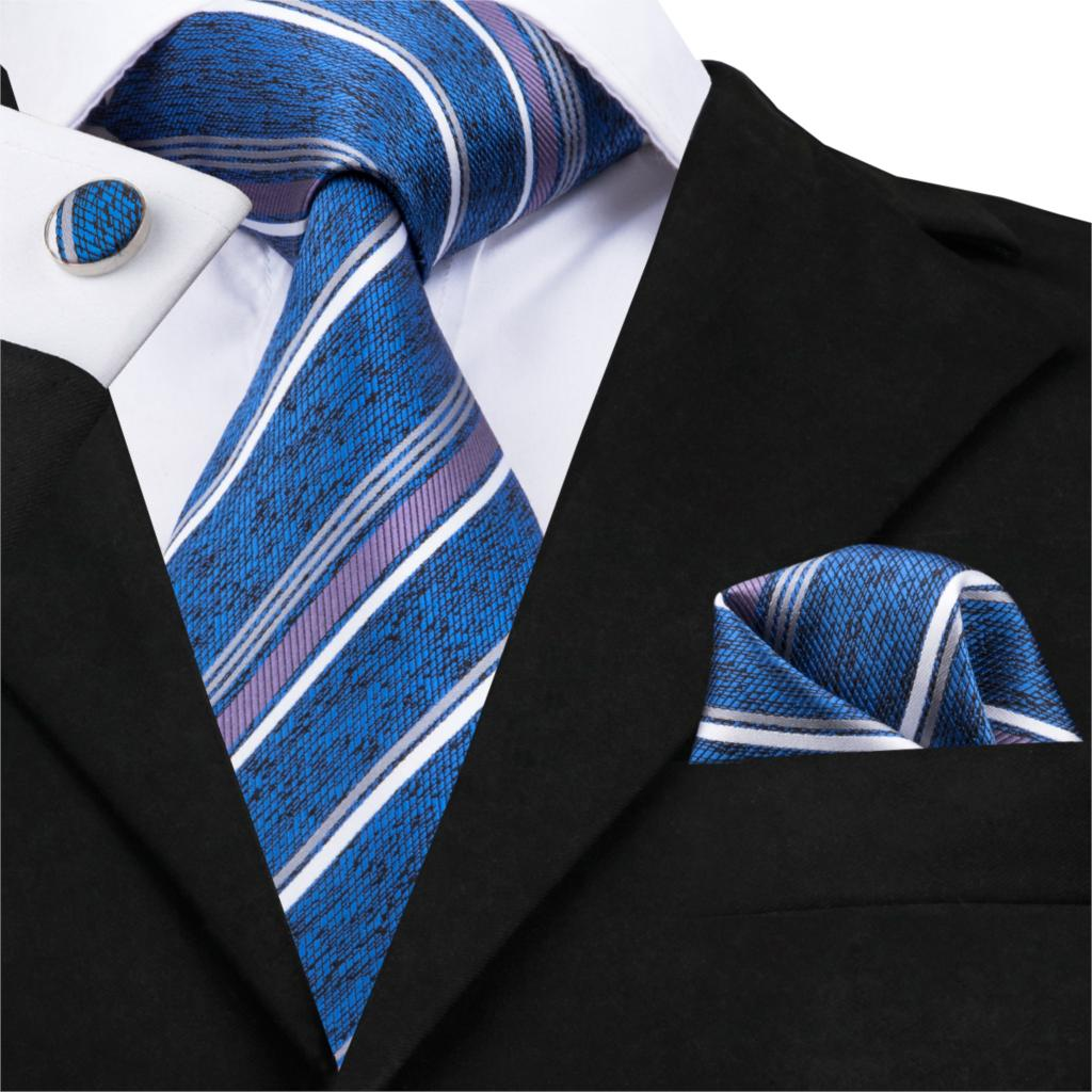 Men Silk Ties Blue Stripe Neck Tie Pocket Square Cufflinks Set Formal Tie For Wedding Business Clearance Tie Hi-Tie C-1703