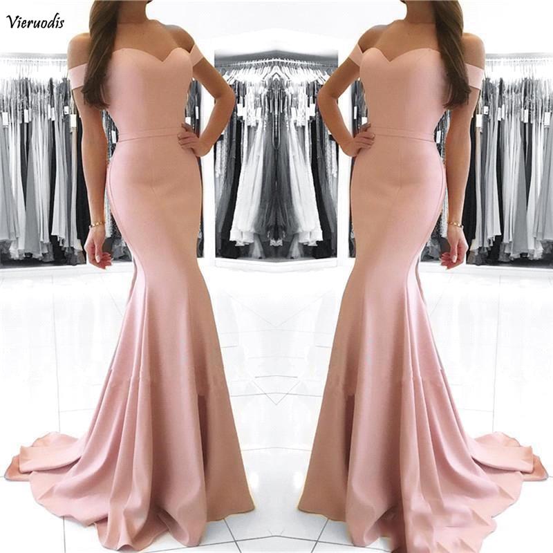 Pas cher Blush rose sirène robes de bal longue 2019 hors épaule Sexy dos nu longueur de plancher robes formelles robes de soirée robe de s