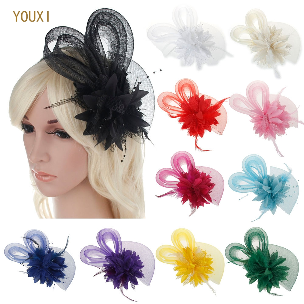 Elegant Tulle With Feather Imitation Pearls Veils Beautiful 11 Colors Available Bridal Flower Bridal Wedding Hats For Women
