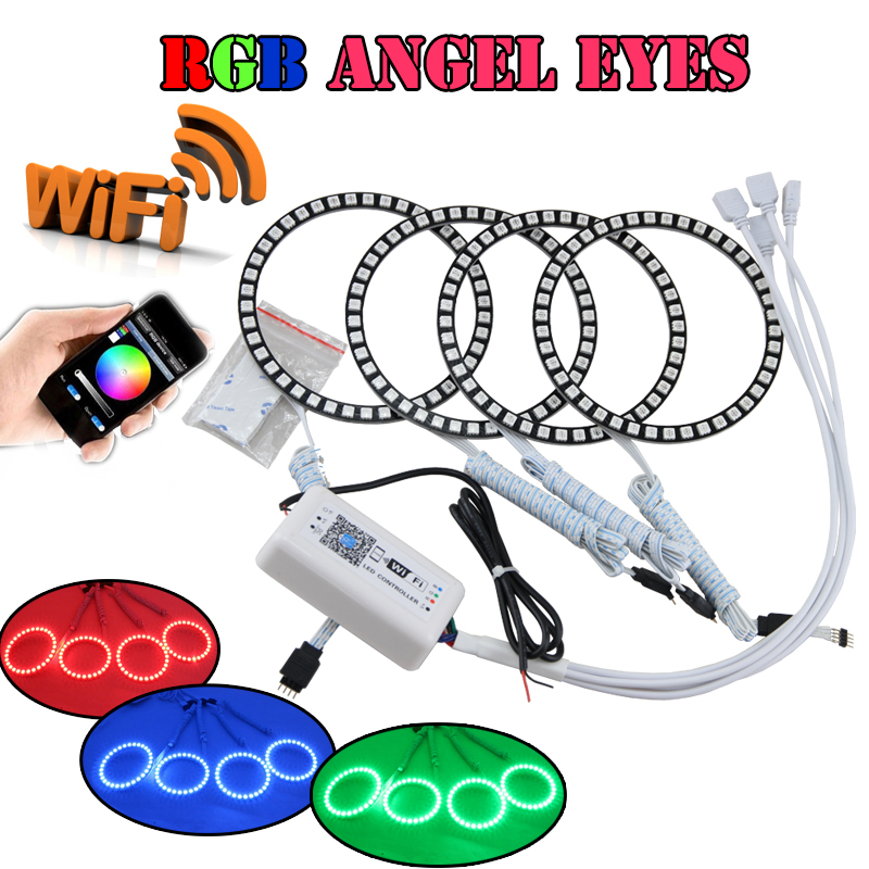 1Set RGB Led Angel Eyes Halo Rings Kit WIFI Wireless Remote Control For Bmw E46 2D