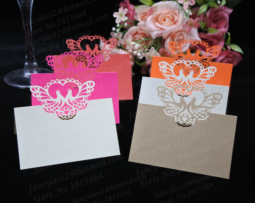 50pcs Sweet Love Birds Place Name Cards Paper Wine Glass Cup Table ...