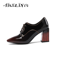 AIKELINYU 2019 New Genuine Leather Shoes Women Pumps Spring Summer Pointy Ladies Party High Heels