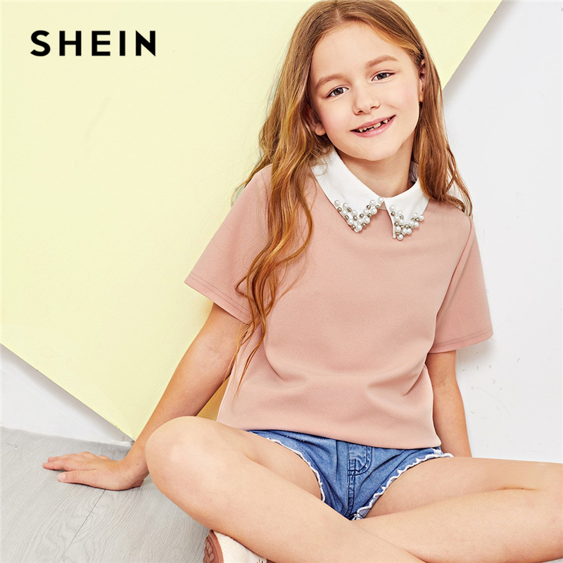 SHEIN Pink Solid Girls Contrast Beaded Collar Elegant Blouse Kids Tops 2019 Spring Fashion Casual Short Sleeve Pearls Shirts