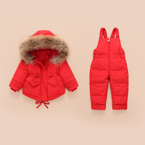 Image 2 - Russian Winter Jacket Kids Overalls for Girls Boys Kids Snowsuit Baby Boy Girl Coat Down Jackets Toddler New Year Clothing Set