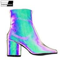 Новинка 2019, ботильоны с раздельным носком для подиума, женские роскошные дизайнерские ботинки из отражающей кожи с круглым носком на высоко