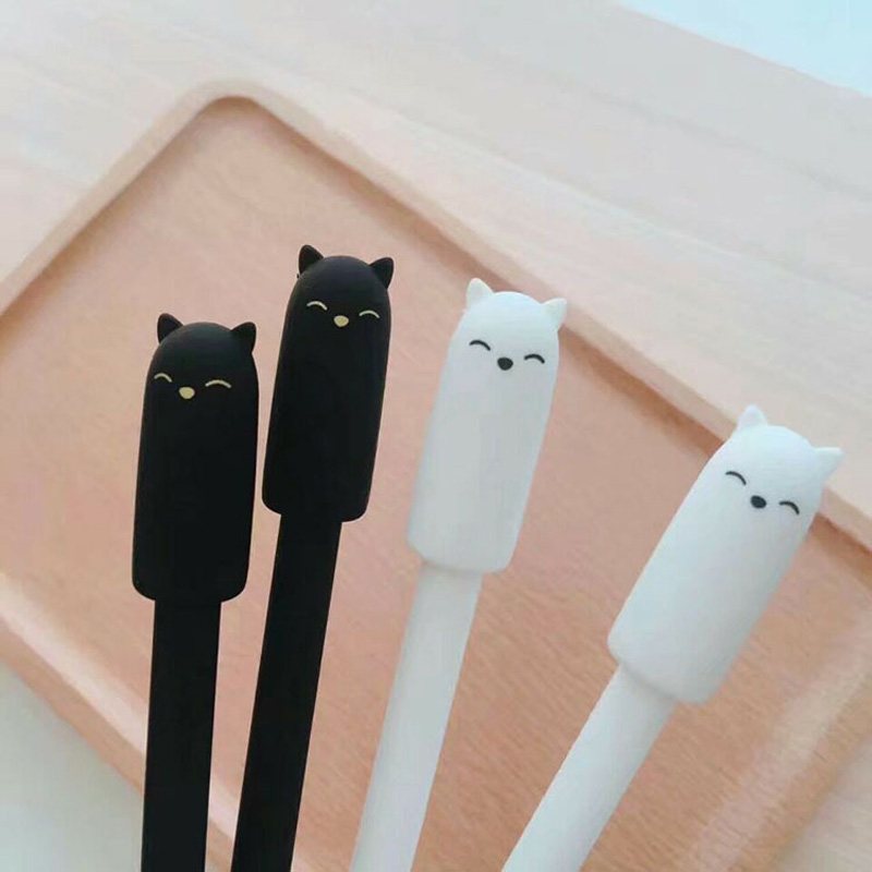 R46 2X Kawaii Black White Smile Cat Gel Pen School Office Supply Student Writing Signing Stationery Black Ink 0.5mm