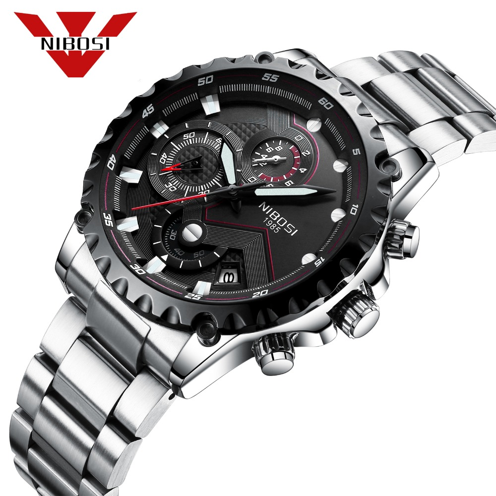 NIBOSI Quartz Wristwatches Waterproof Sport Watch Hiking Traveling Style Fashion Stainless Steel Men Watch Casual Clock Sliver