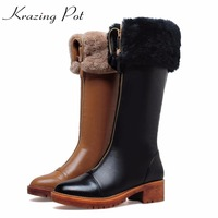 Krazing Pot Cow Leather Round Toe Med Heels Wool Decoration Winter Boots Fashion Superstar Over The