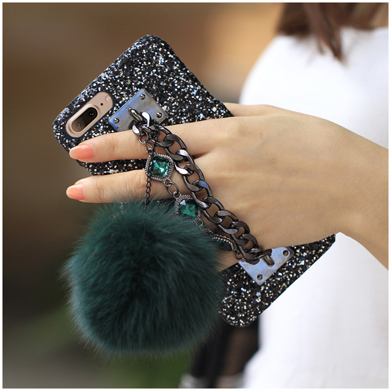 Luxury Glitter Bling Diamond Gem Bracelet Chain Tassel Strap Cases Fox Fur Ball Cover For iPhone