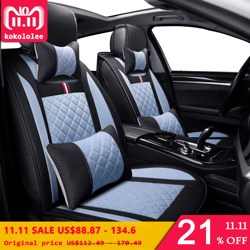 KOKOLOLEE flax Auto Car seat covers universal for HYUNDAI Solaris Getz Elantra Accent Tucson Sonata i30 ix35 3D car-styling special leather only 2 front car seat covers for hyundai solaris ix35 i30 ix25 elantra accent tucson sonata auto accessories