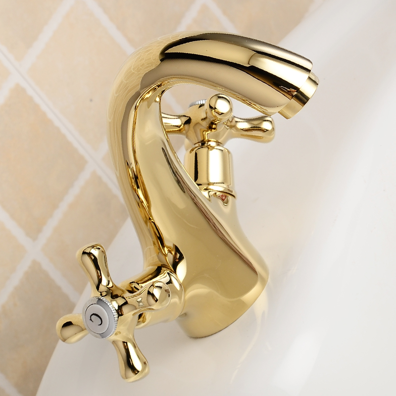 Bathroom Faucet Gold Brass Modern Basin Faucet Mixer Double Handle Sink Faucet Deck Mounted Single Hole Hot and Cold Water Tap in Basin Faucets from Home Improvement