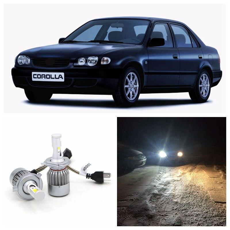 Us 13 8 70 Off Edislight 72w 7600lm Led Headlight Kit H4 Hi Lo Beam Bulbs For 1998 1999 2000 Toyota Corolla White Car High Low Beam Light In Car