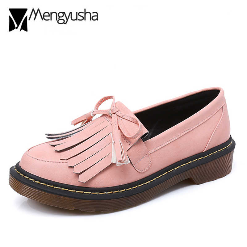 bb58b46673 black/pink/white leather brogue shoes woman brand tassel flat shoes bowtie  bullock ladies