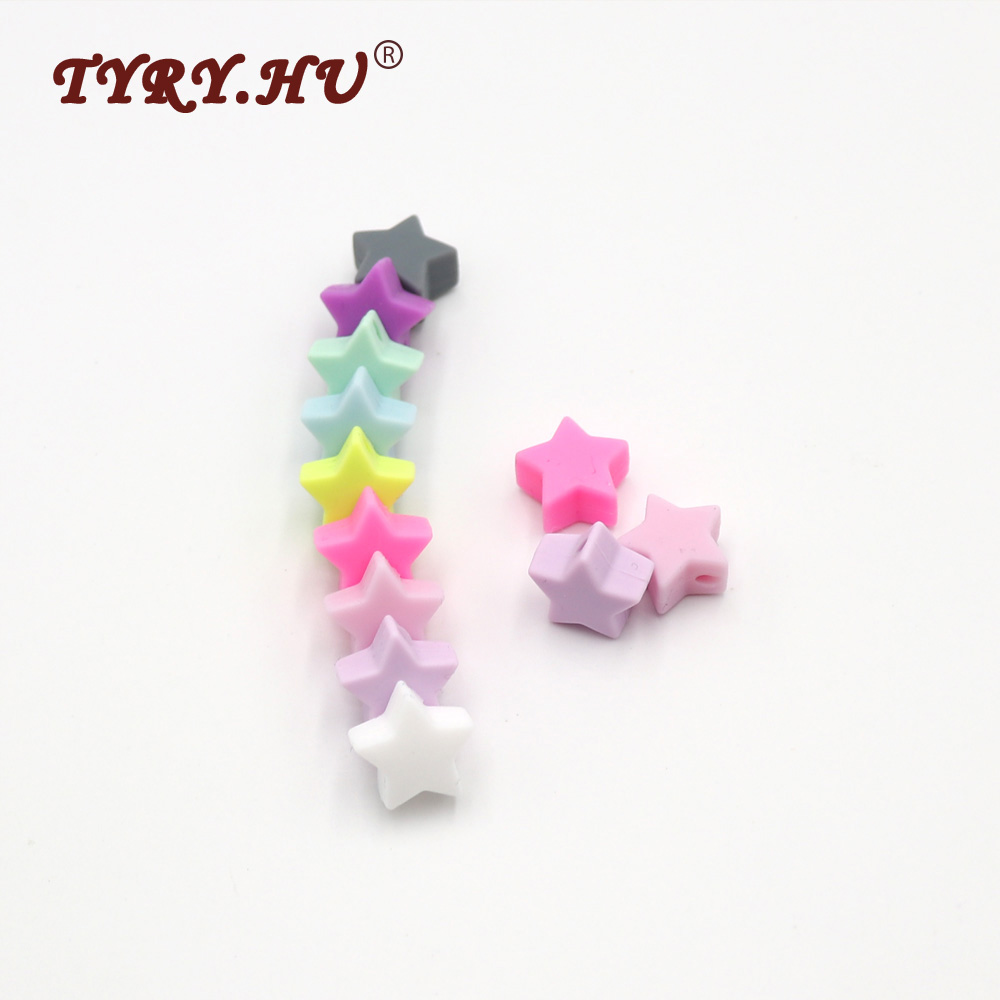 TYRY.HU 10Pcs/lot Star Shaped Food Grade Silicone Beads Baby Mordedor Silicona Infants Teething Toys Baby Dental Care Products