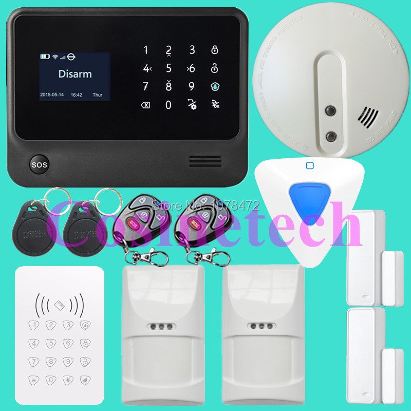 Smart Android Ios APP controlled home alarm system Touch keypad wifi gsm alarm system with pet immune motion detector,siren horn yobangsecurity 2 4g touch keypad wireless wifi alarm system security home ios android app remote control gas leakage detector