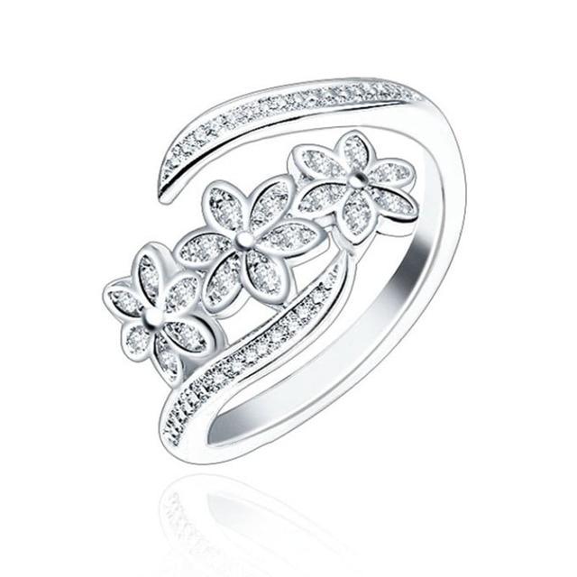 LNRRABC Elegant Flowers Finger Rings Stainless Steel Rings For Women Crystal Rin