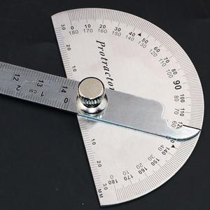 Image 2 - 14.5cm 180 graus ajustável transferidor multifunções de aço inoxidável ângulo de cabeça redonda régua ferramenta medição matemática