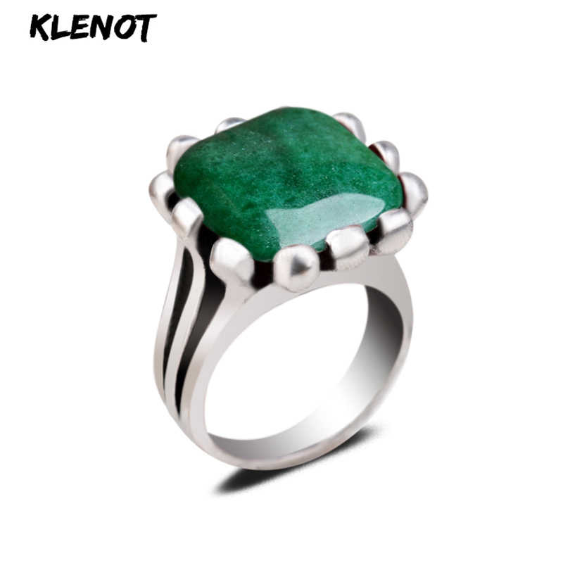 Natural Green Jade Stone Square Ring Set Punk Oval Interface Gemstone in Antique Silver  7/8/9 Pick Size for Women Mens Jewelry