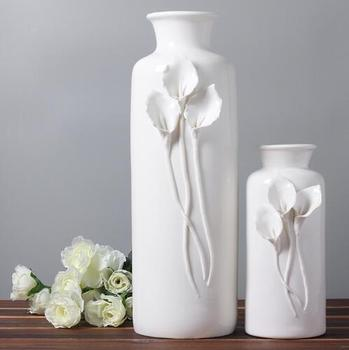 white ceramic fashion creative abstract flower vase pot home decor craft room decoration handicraft porcelain figurine