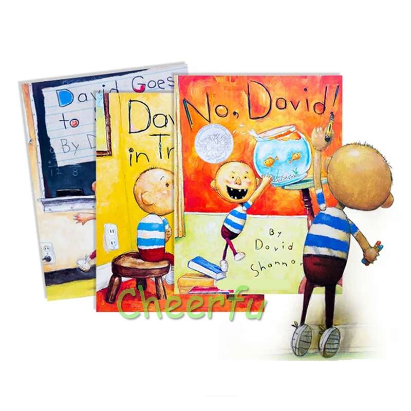 David Shannon 3 Styles Books No David, David Gets In Trouble, David Goes To School Cognitive Picture Book For Children Stoies