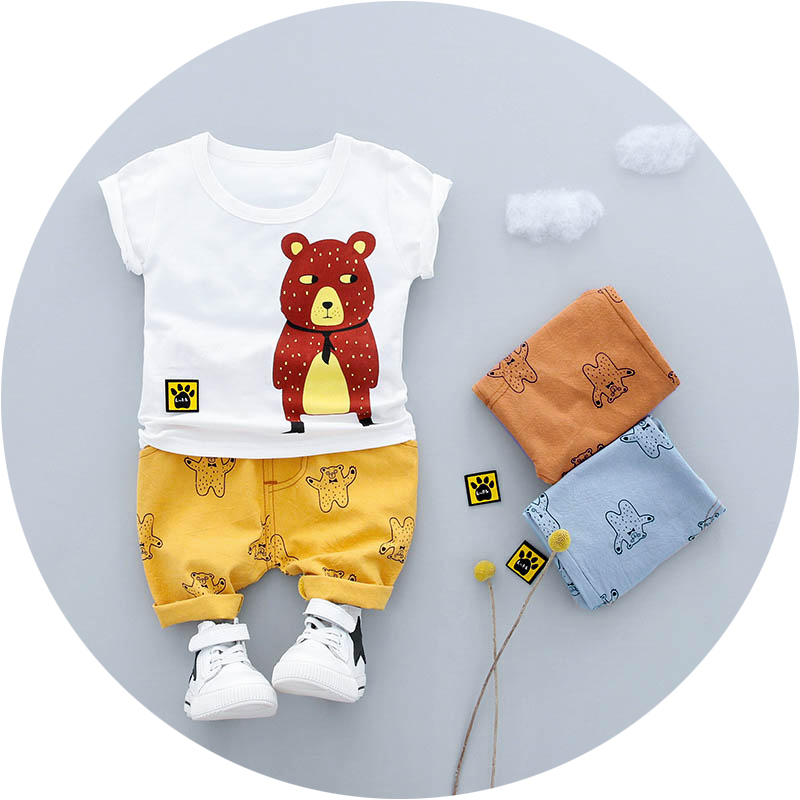 Boys Clothes Set 2018 New Summer 0-3y Fashion Style kids Suit Cotton Material O-neck With Bear Print 18021 Boys Clothing Suit light pink imitation silk material v neck pajamas suit