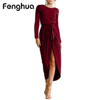 Fenghua Fashion Autumn Winter Dresses Women 2017 Long Sleeve Dress Female Elegant Sexy Split Party Dresses