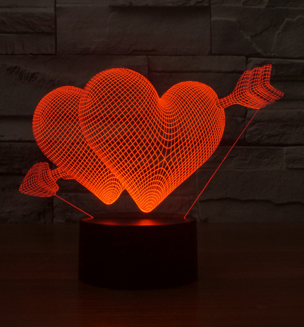 New 3D LED Night Lights Double LOVE Heart Shape Night Light 7 Colors Wall  Lamps For