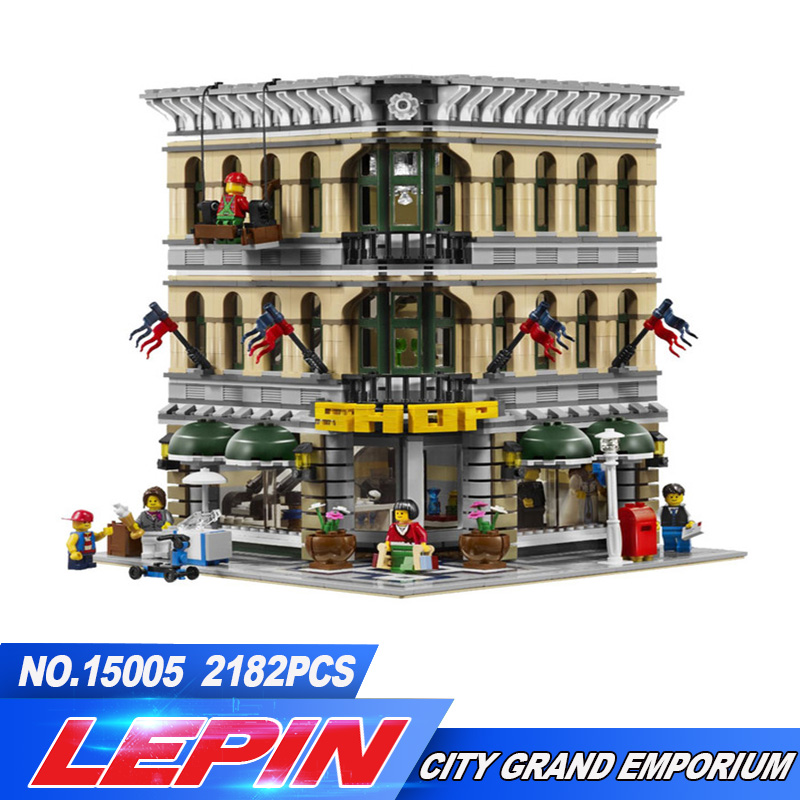 New Lepin 2017 15005 2232Pcs City Creator Grand Emporium Model Building Kits Blocks Brick Toy Compatible 10211 legoed