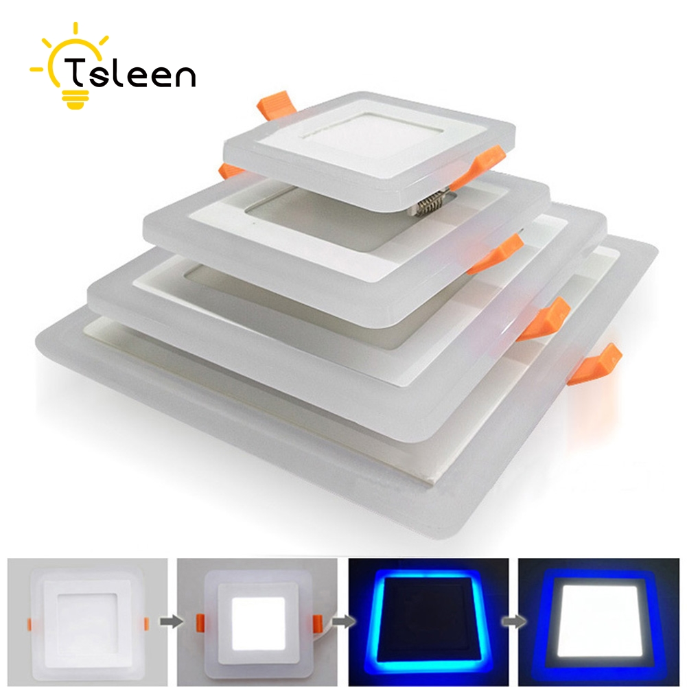 TSLEEN SMD 2835 Double Color LED Panel Downlight 3W 6W 12W AC 85-265V 220V 110V 230V LED Spot Light Ceiling Spotlight Acrylic