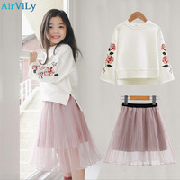 Girls Clothes Set Autumn Flower Print Clothing For Children 2Pcs Embroidery Shirt Skirt Infant Clothes Fashion