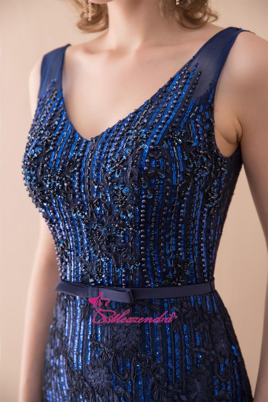 Alexzendra lagerklänning Dubbel V Halsmermaid Blå Prom Klänningar - Särskilda tillfällen klänningar - Foto 6